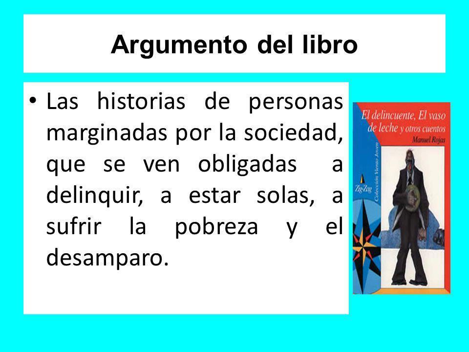 Argumento del libro Las historias de personas marginadas por la sociedad, que se ven obligadas a delinquir, a estar solas, a sufrir la pobreza y el de