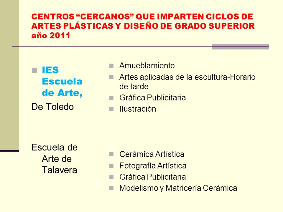 CENTROS CERCANOS QUE IMPARTEN CICLOS DE GRADO MEDIO año 2011 IES Universidad Laboral, Toledo Administración y Finanzas Administración y Finanzas (Noct