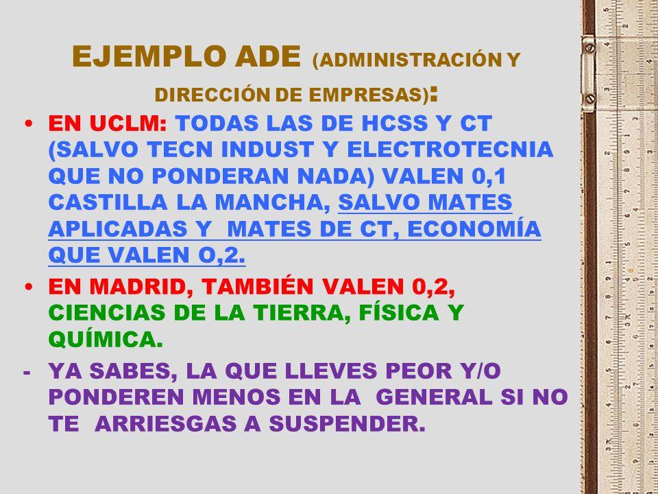 EJEMPLO PERIODISMO : TODAS VALEN 0,1 EN CASTILLA LA MANCHA TODAS LAS MATERIAS DE HUMANIDADES Y CIENCIAS SOCIALES Y LA MAYORÍA DE CT VALEN 0,2 EN MADRI