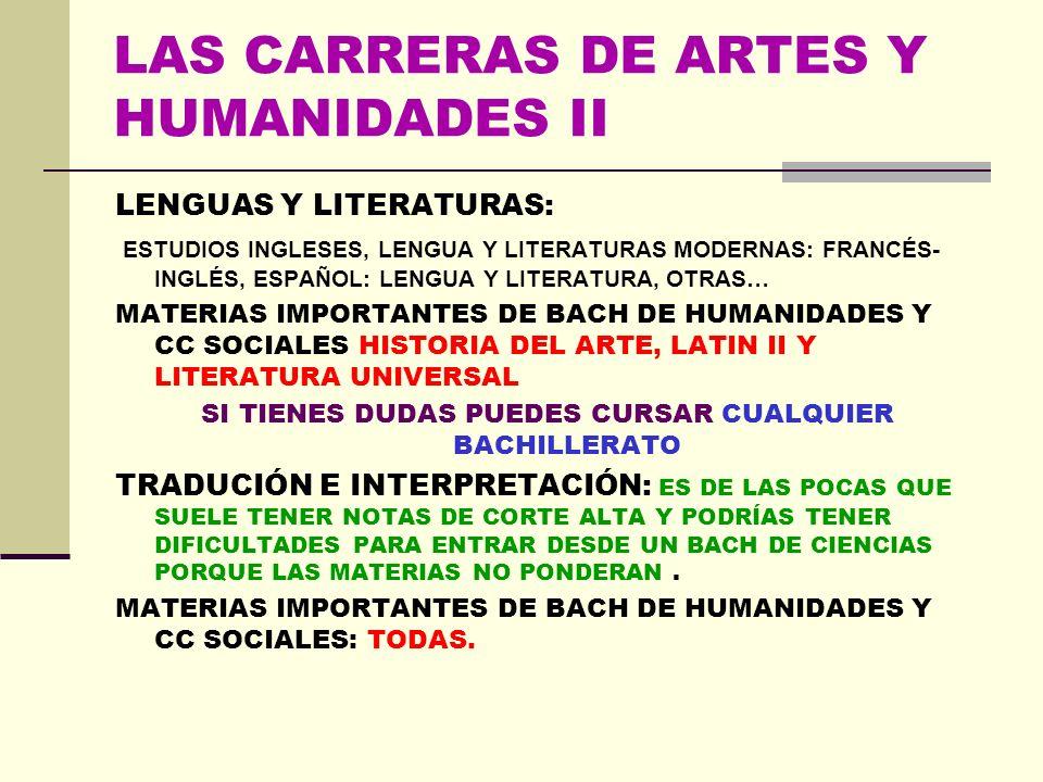LAS CARRERAS DE ARTES Y HUMANIDADES I BELLAS ARTES: RECOMENDABLE EL BACHILLERATO DE ARTES SI LO TIENES MUY CLARO, QUE QUIERES DEDICARTE PROFESIONALMEN