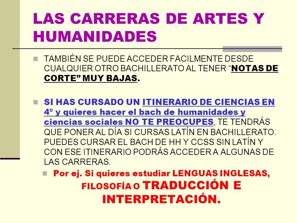 LAS CARRERAS DE ARTES Y HUMANIDADES II LENGUAS Y LITERATURAS: ESTUDIOS INGLESES, LENGUA Y LITERATURAS MODERNAS: FRANCÉS- INGLÉS, ESPAÑOL: LENGUA Y LIT