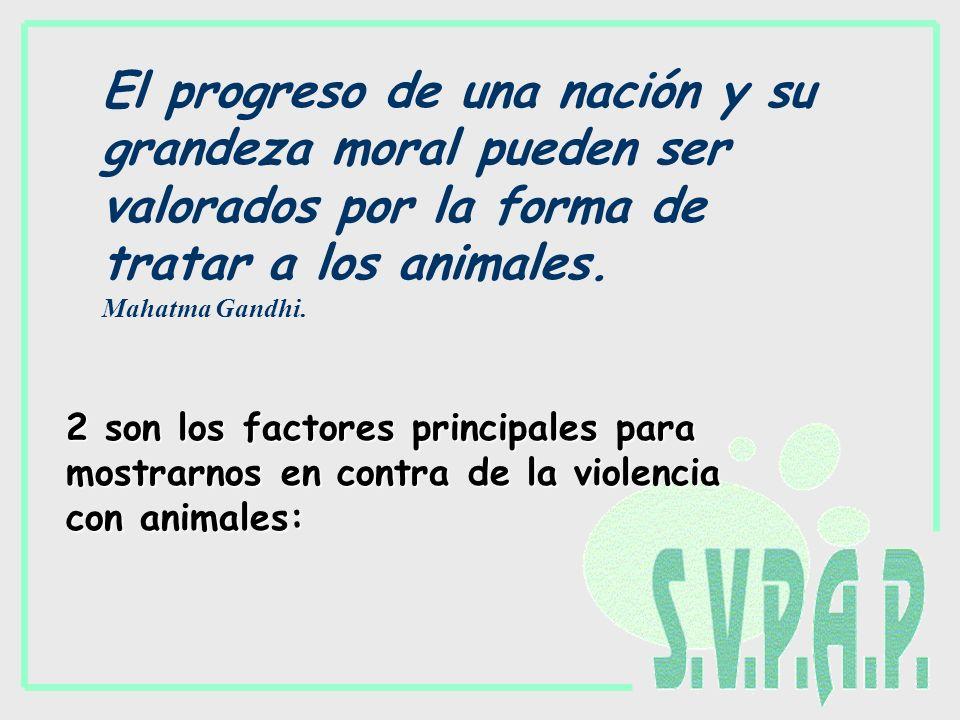 El progreso de una nación y su grandeza moral pueden ser valorados por la forma de tratar a los animales. Mahatma Gandhi. 2 son los factores principal