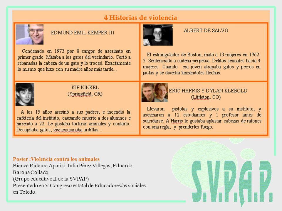 Poster :Violencia contra los animales Bianca Ridaura Aparisi, Julia Pérez Villegas, Eduardo Barona Collado (Grupo educativo II de la SVPAP) Presentado