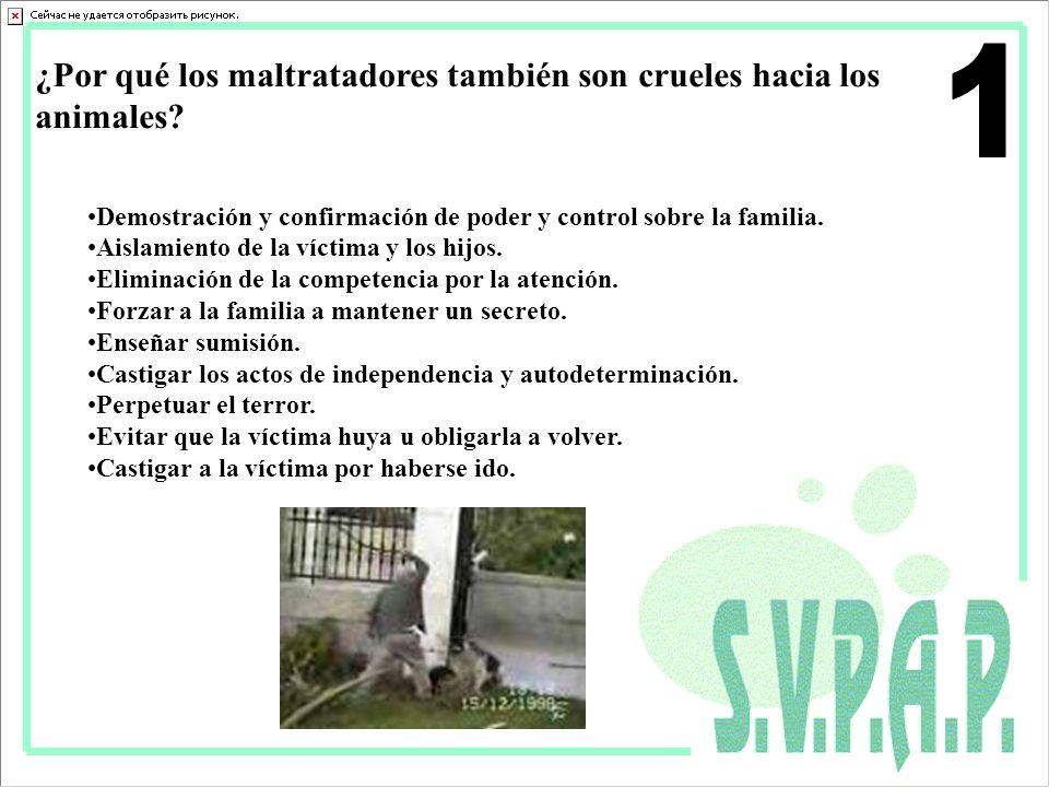 ¿Por qué los maltratadores también son crueles hacia los animales? Demostración y confirmación de poder y control sobre la familia. Aislamiento de la