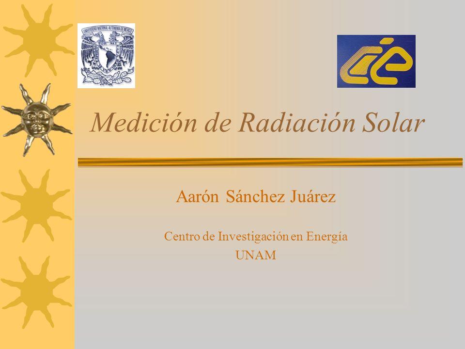 Medición de Radiación Solar Aarón Sánchez Juárez Centro de Investigación en Energía UNAM