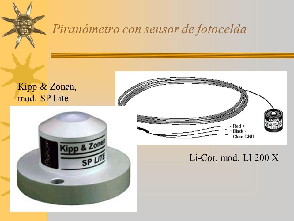 Piranómetro con sensor de fotocelda Kipp & Zonen, mod. SP Lite Li-Cor, mod. LI 200 X