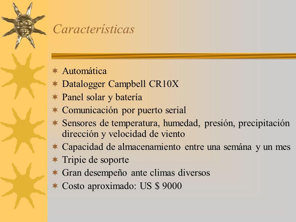 Características Automática Datalogger Campbell CR10X Panel solar y batería Comunicación por puerto serial Sensores de temperatura, humedad, presión, p