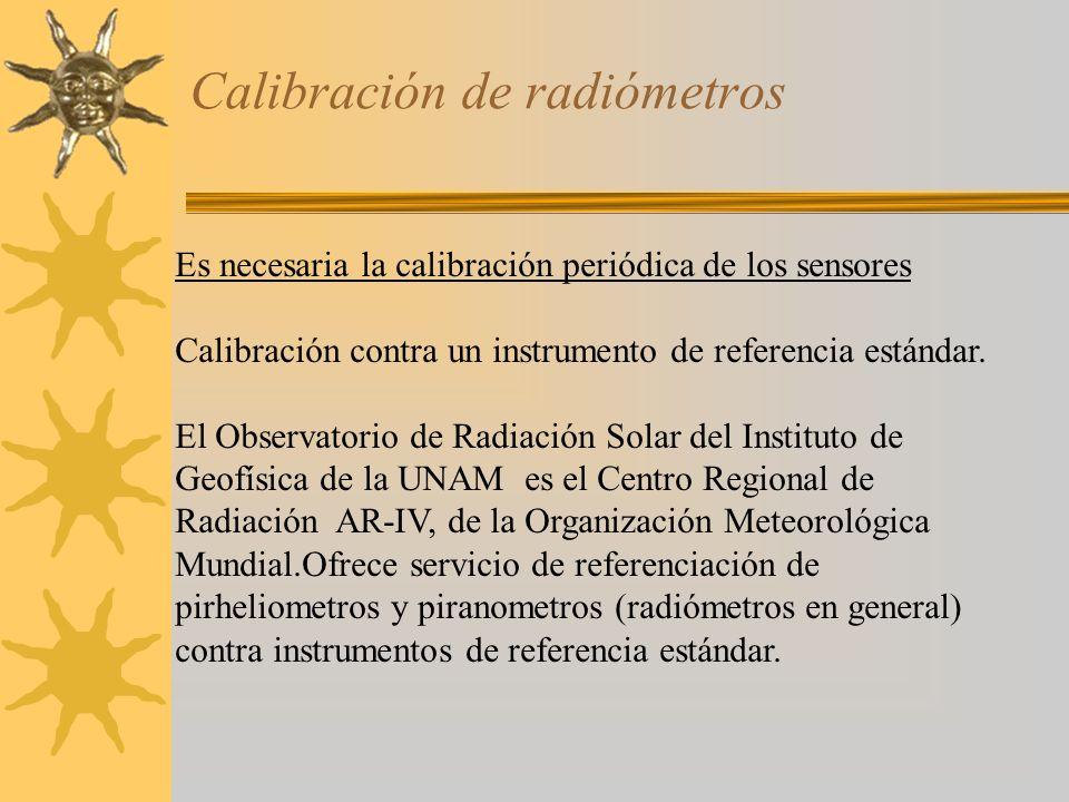 Calibración de radiómetros Es necesaria la calibración periódica de los sensores Calibración contra un instrumento de referencia estándar. El Observat