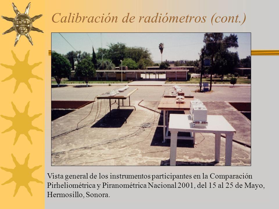 Calibración de radiómetros (cont.) Vista general de los instrumentos participantes en la Comparación Pirheliométrica y Piranométrica Nacional 2001, de
