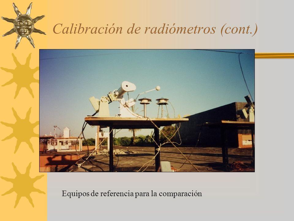 Calibración de radiómetros (cont.) Equipos de referencia para la comparación