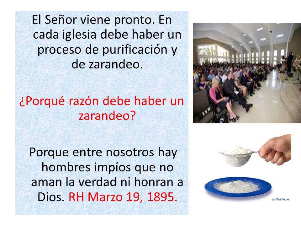 El Señor viene pronto. En cada iglesia debe haber un proceso de purificación y de zarandeo. ¿Porqué razón debe haber un zarandeo? Porque entre nosotro