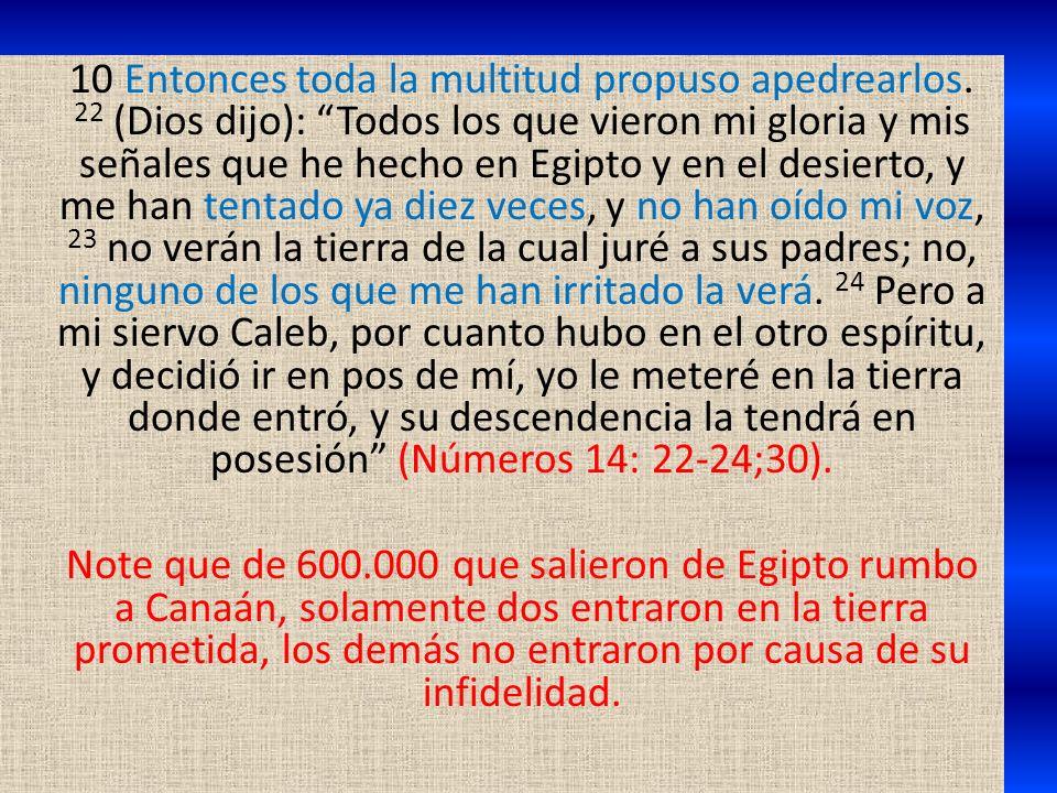 10 Entonces toda la multitud propuso apedrearlos. 22 (Dios dijo): Todos los que vieron mi gloria y mis señales que he hecho en Egipto y en el desierto