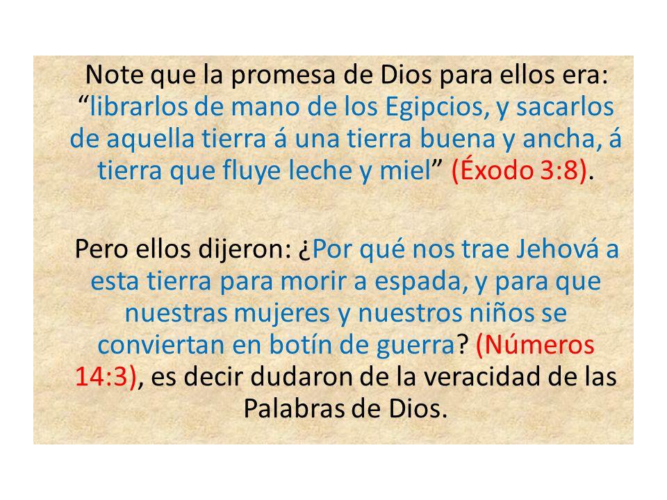 Note que la promesa de Dios para ellos era:librarlos de mano de los Egipcios, y sacarlos de aquella tierra á una tierra buena y ancha, á tierra que fl
