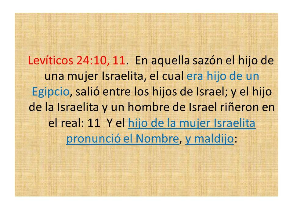 Levíticos 24:10, 11. En aquella sazón el hijo de una mujer Israelita, el cual era hijo de un Egipcio, salió entre los hijos de Israel; y el hijo de la