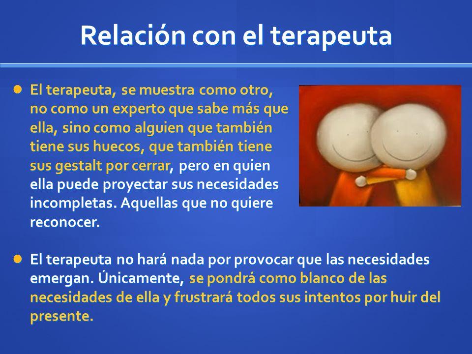 Relación con el terapeuta El terapeuta, se muestra como otro, no como un experto que sabe más que ella, sino como alguien que también tiene sus huecos