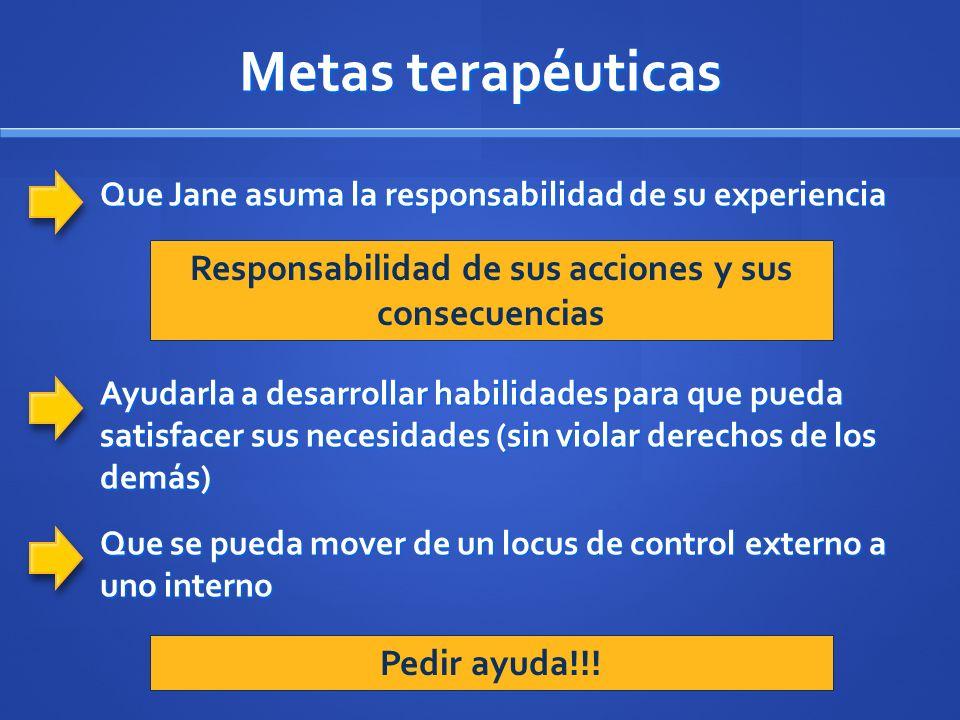 Metas terapéuticas Que Jane asuma la responsabilidad de su experiencia Responsabilidad de sus acciones y sus consecuencias Ayudarla a desarrollar habi