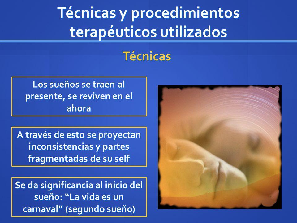 Técnicas y procedimientos terapéuticos utilizados Los sueños se traen al presente, se reviven en el ahora A través de esto se proyectan inconsistencia