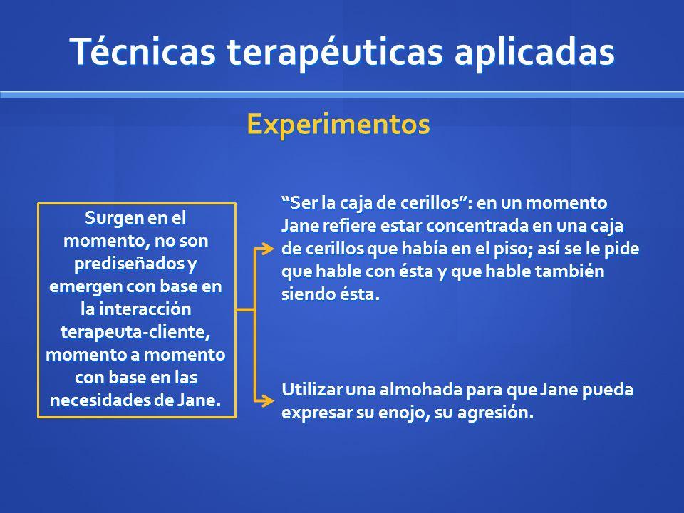 Técnicas terapéuticas aplicadas Experimentos Surgen en el momento, no son prediseñados y emergen con base en la interacción terapeuta-cliente, momento