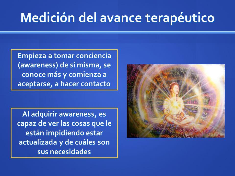 Medición del avance terapéutico Empieza a tomar conciencia (awareness) de sí misma, se conoce más y comienza a aceptarse, a hacer contacto Al adquirir