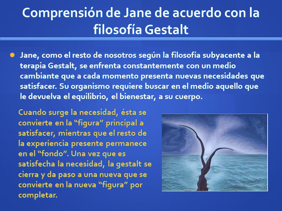 Jane, como el resto de nosotros según la filosofía subyacente a la terapia Gestalt, se enfrenta constantemente con un medio cambiante que a cada momen