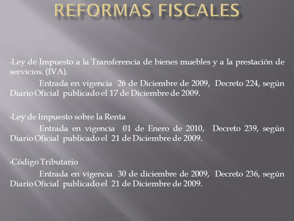 Ley de Impuesto a la Transferencia de bienes muebles y a la prestación de servicios.