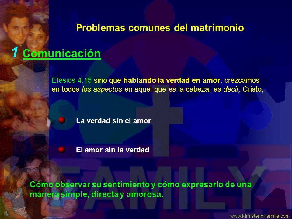 www.MinisterioFamilia.com Problemas comunes del matrimonio 1 Comunicación El amor sin la verdad La verdad sin el amor Efesios 4:15 sino que hablando l