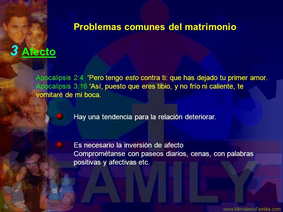 www.MinisterioFamilia.com Problemas comunes del matrimonio 3 Afecto Es necesario la inversión de afecto Comprométanse con paseos diarios, cenas, con p