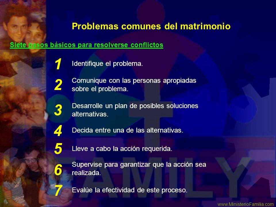 www.MinisterioFamilia.com Problemas comunes del matrimonio Siete pasos básicos para resolverse conflictos Comunique con las personas apropiadas sobre