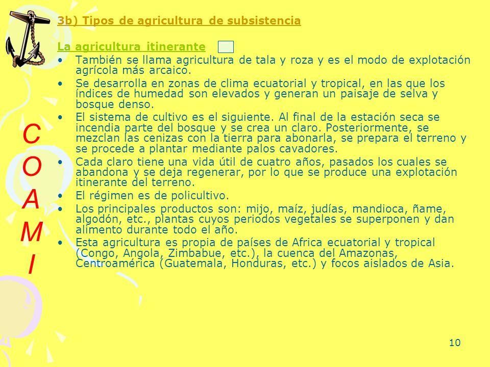 10 3b) Tipos de agricultura de subsistencia La agricultura itinerante También se llama agricultura de tala y roza y es el modo de explotación agrícola