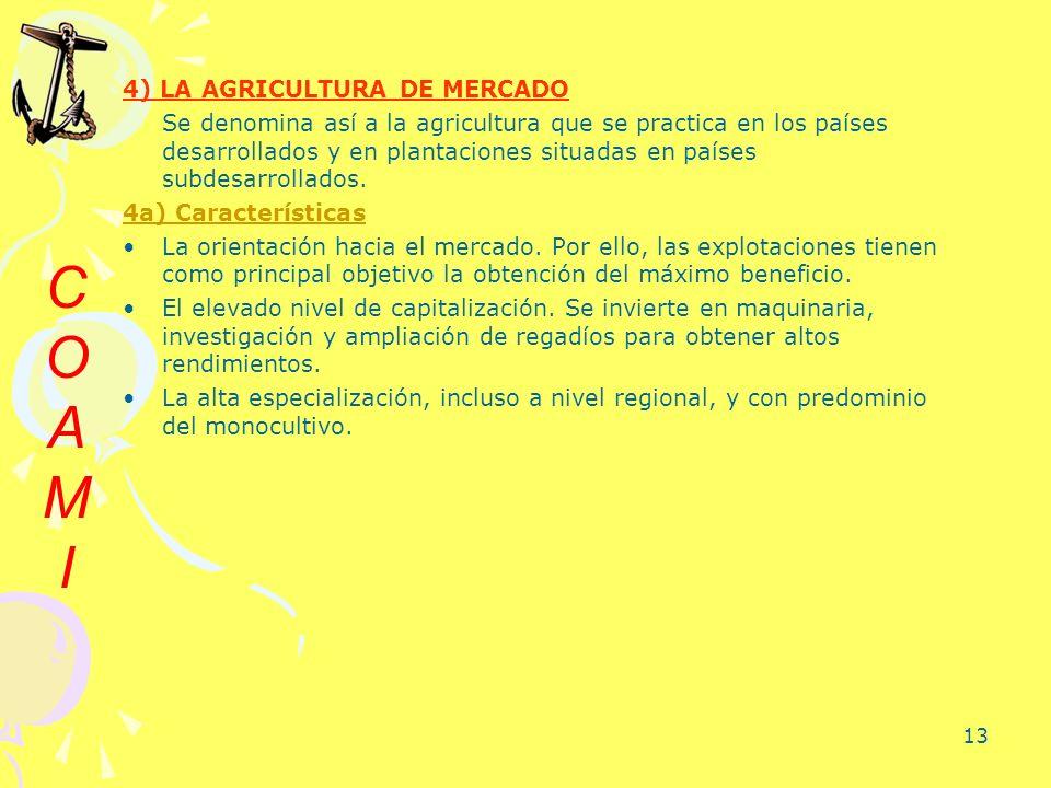 13 4) LA AGRICULTURA DE MERCADO Se denomina así a la agricultura que se practica en los países desarrollados y en plantaciones situadas en países subd