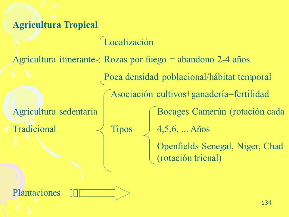 134 Agricultura Tropical Localización Agricultura itinerante Rozas por fuego = abandono 2-4 años Poca densidad poblacional/hábitat temporal Asociación
