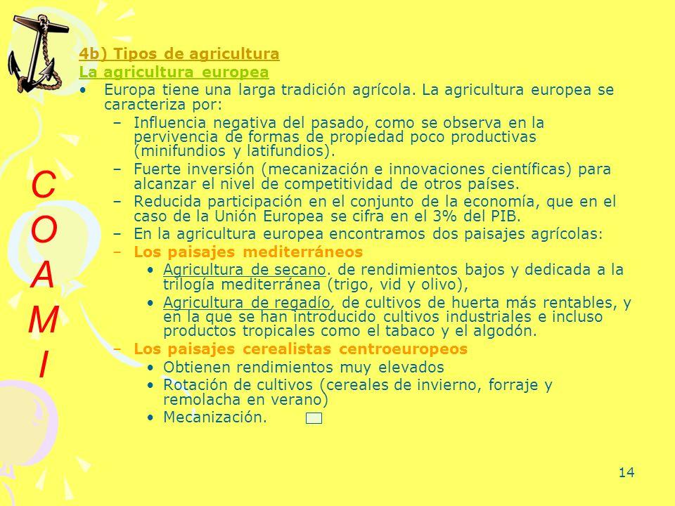 14 4b) Tipos de agricultura La agricultura europea Europa tiene una larga tradición agrícola. La agricultura europea se caracteriza por: –Influencia n