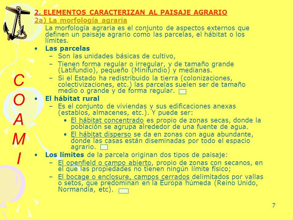 7 2. ELEMENTOS CARACTERIZAN AL PAISAJE AGRARIO 2a) La morfología agraria La morfología agraria es el conjunto de aspectos externos que definen un pais