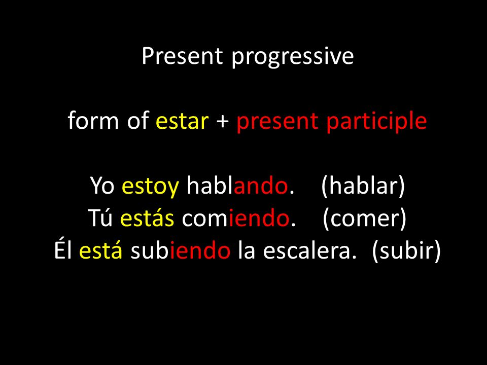 To form the present progressive, simply conjugate the verb estar to agree with the subject of the sentence, and follow it with the present participle.