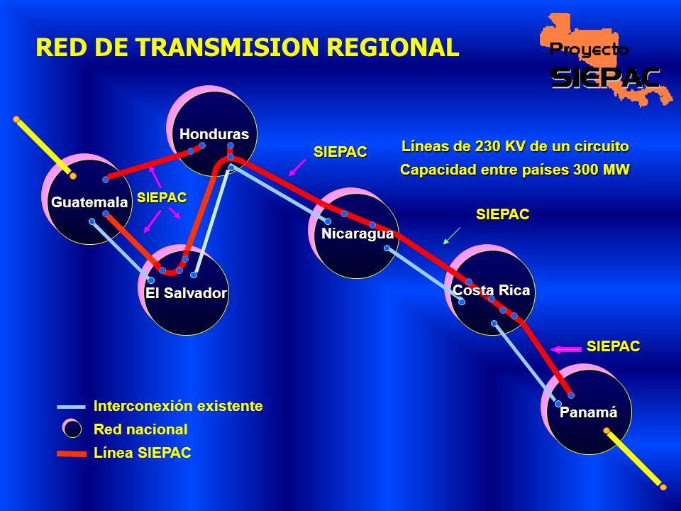 RED DE TRANSMISION REGIONAL GuatemalaGuatemala El Salvador PanamáPanamá Interconexión existente Red nacional Línea SIEPAC Líneas de 230 KV de un circu
