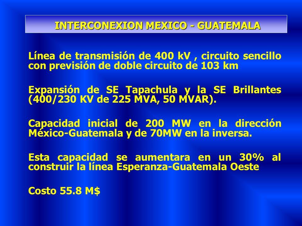 Línea de transmisión de 400 kV, circuito sencillo con previsión de doble circuito de 103 km Expansión de SE Tapachula y la SE Brillantes (400/230 KV d