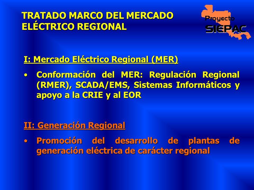 TRATADO MARCO DEL MERCADO ELÉCTRICO REGIONAL I: Mercado Eléctrico Regional (MER) Conformación del MER: Regulación Regional (RMER), SCADA/EMS, Sistemas