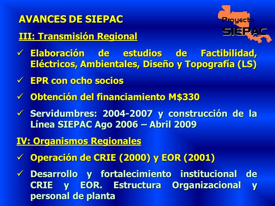 AVANCES DE SIEPAC III: Transmisión Regional Elaboración de estudios de Factibilidad, Eléctricos, Ambientales, Diseño y Topografía (LS) Elaboración de