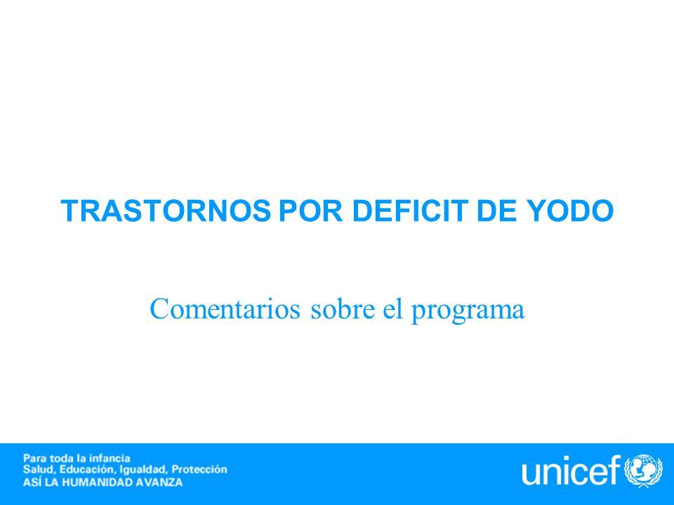 TRASTORNOS POR DEFICIT DE YODO Comentarios sobre el programa TDY