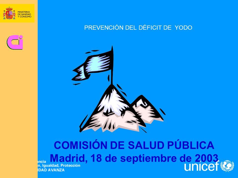 PREVENCIÓN DEL DÉFICIT DE YODO COMISIÓN DE SALUD PÚBLICA Madrid, 18 de septiembre de 2003