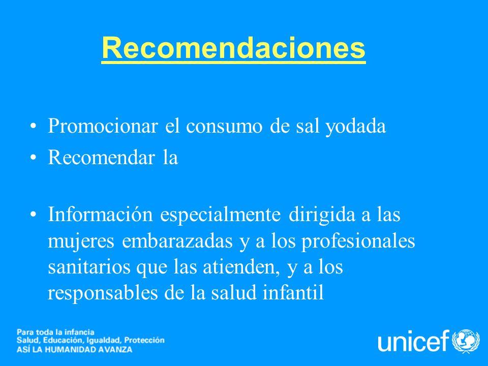 Recomendaciones Promocionar el consumo de sal yodada Recomendar la ingesta de otros alimentos enriquecidos con yodo Información especialmente dirigida
