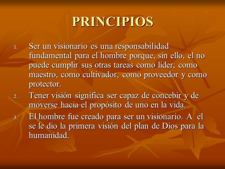 PRINCIPIOS 1. Ser un visionario es una responsabilidad fundamental para el hombre porque, sin ello, el no puede cumplir sus otras tareas como líder, c