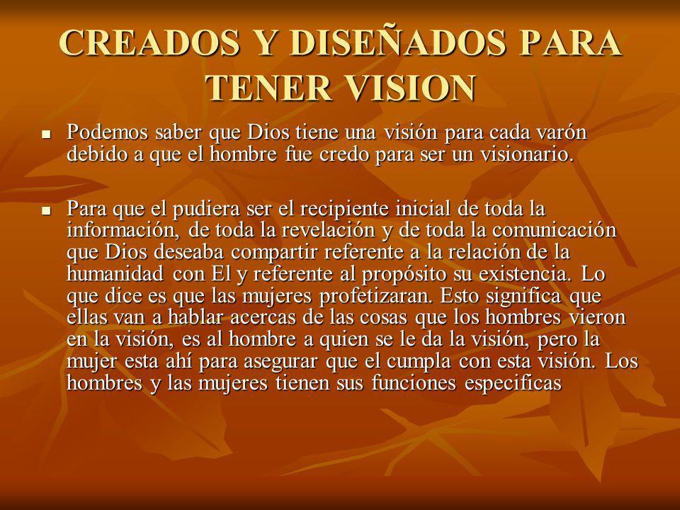 CREADOS Y DISEÑADOS PARA TENER VISION Podemos saber que Dios tiene una visión para cada varón debido a que el hombre fue credo para ser un visionario.