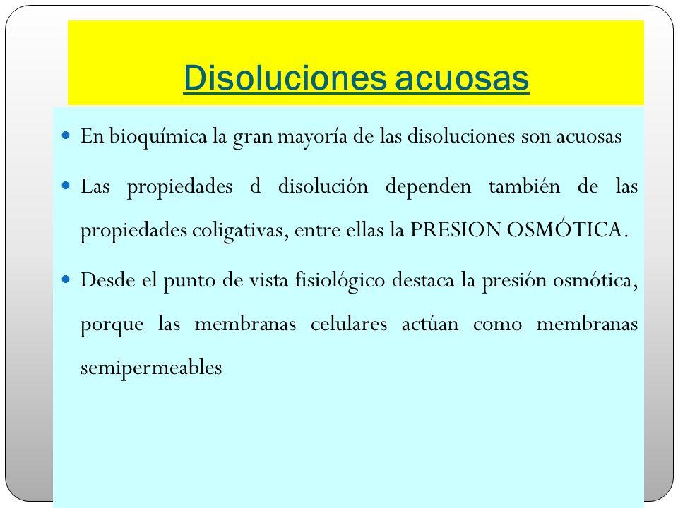 Disoluciones acuosas En bioquímica la gran mayoría de las disoluciones son acuosas Las propiedades d disolución dependen también de las propiedades co