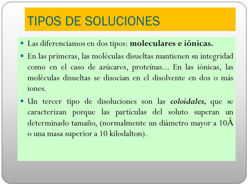 TIPOS DE SOLUCIONES Las diferenciamos en dos tipos: moleculares e iónicas. En las primeras, las moléculas disueltas mantienen su integridad como en el