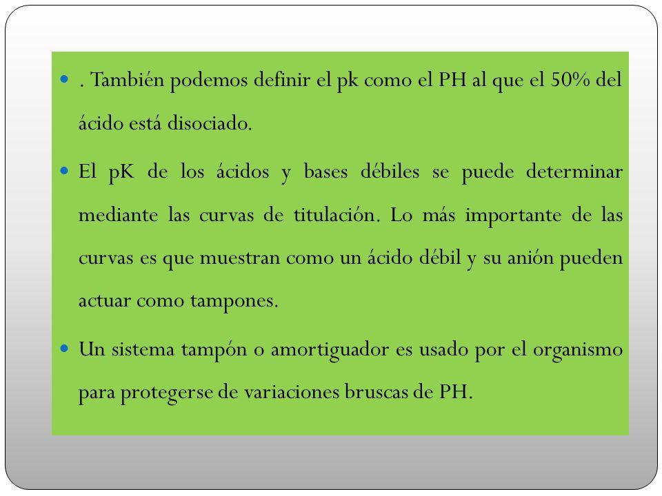 . También podemos definir el pk como el PH al que el 50% del ácido está disociado. El pK de los ácidos y bases débiles se puede determinar mediante la