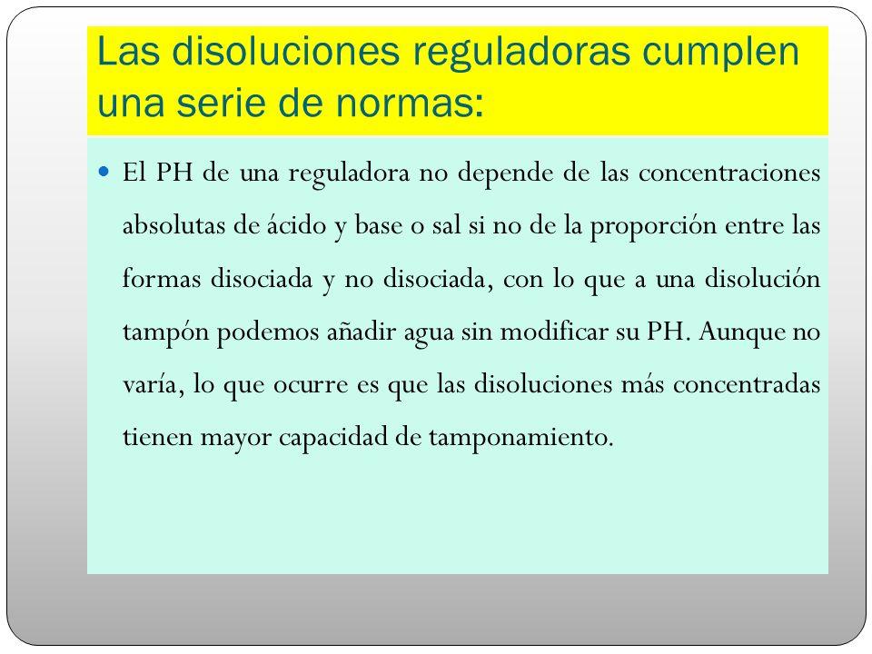 Las disoluciones reguladoras cumplen una serie de normas: El PH de una reguladora no depende de las concentraciones absolutas de ácido y base o sal si