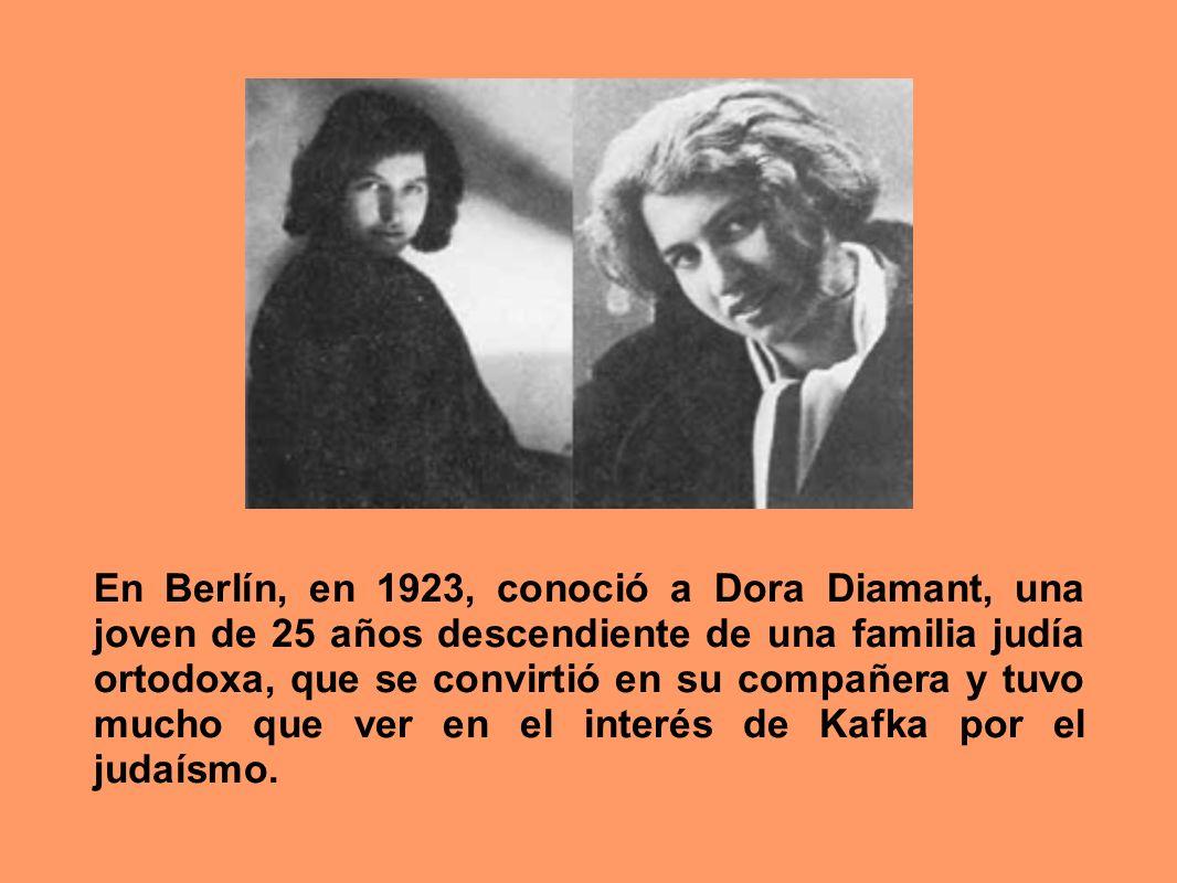 En Berlín, en 1923, conoció a Dora Diamant, una joven de 25 años descendiente de una familia judía ortodoxa, que se convirtió en su compañera y tuvo m