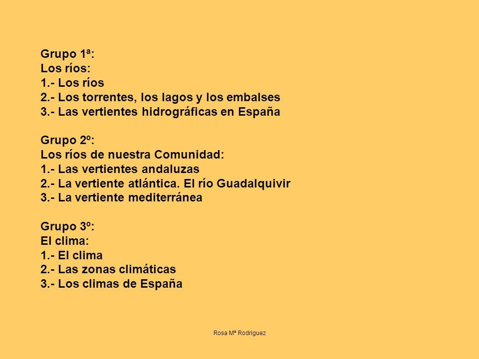 Grupo 1ª: Los ríos: 1.- Los ríos 2.- Los torrentes, los lagos y los embalses 3.- Las vertientes hidrográficas en España Grupo 2º: Los ríos de nuestra Comunidad: 1.- Las vertientes andaluzas 2.- La vertiente atlántica.