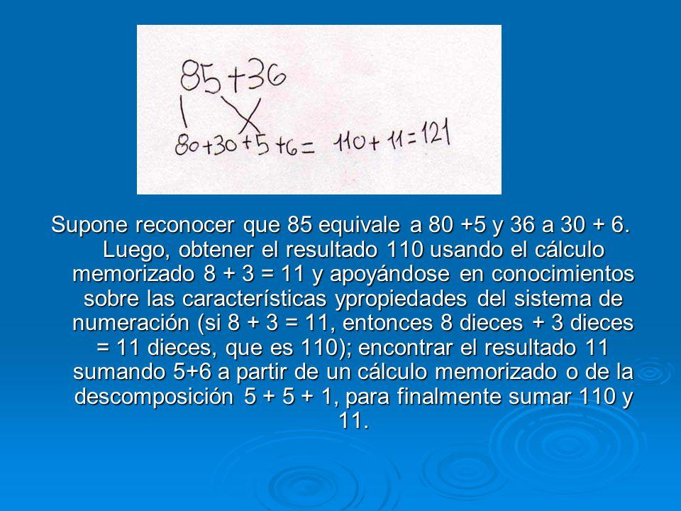 Supone reconocer que 85 equivale a 80 +5 y 36 a 30 + 6. Luego, obtener el resultado 110 usando el cálculo memorizado 8 + 3 = 11 y apoyándose en conoci